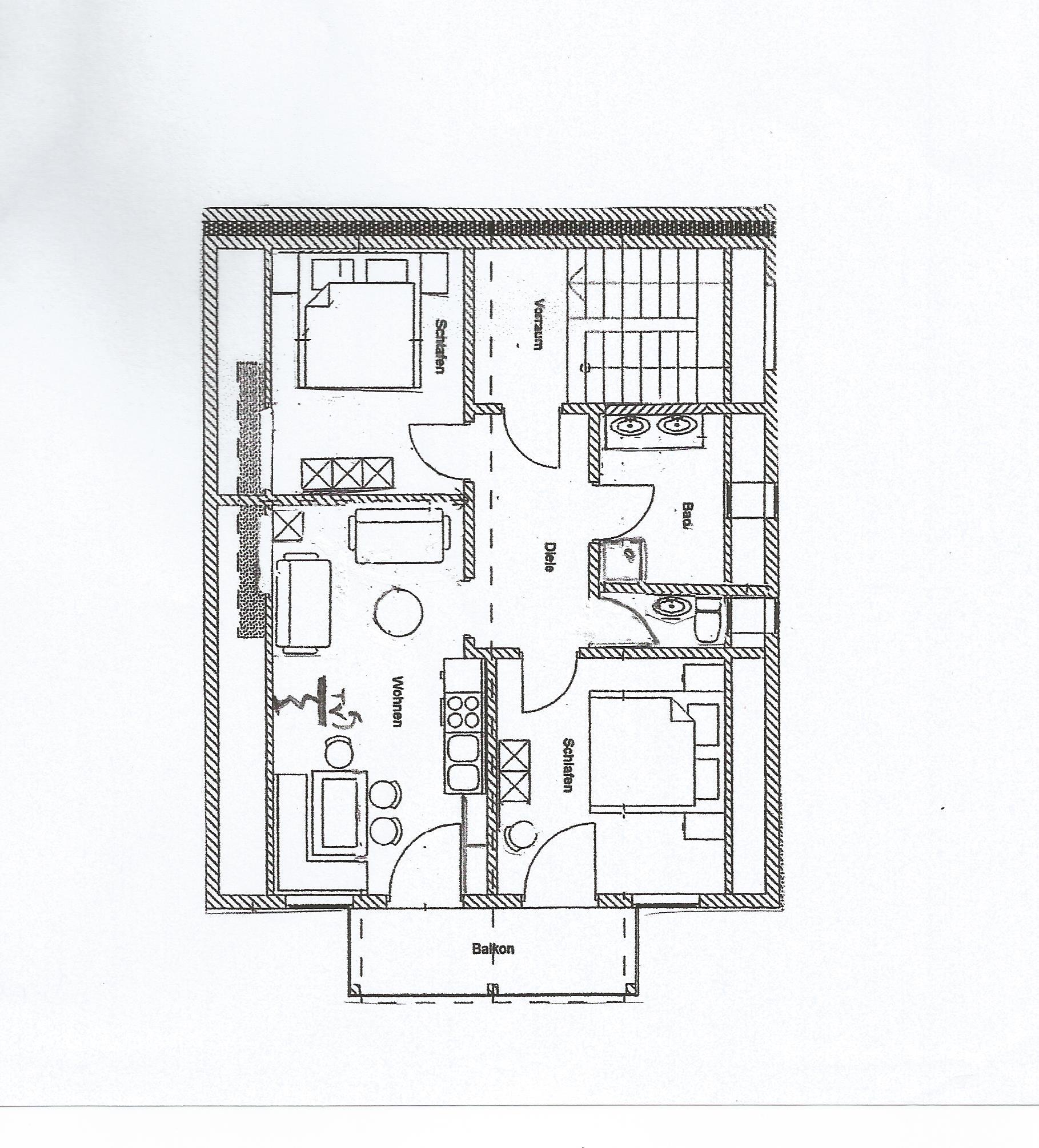 Haus Waldeck Ferienwohnung Riedbergerhorn Wohnungsskizze